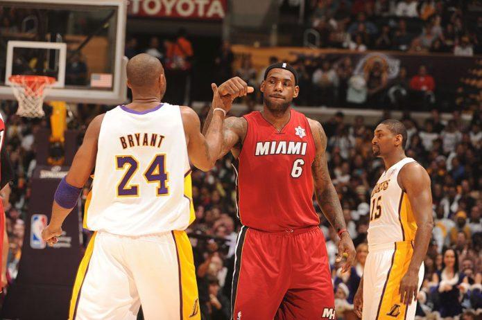 LeBron James, Miami Heat e Kobe Bryant, Los Angeles Lakers